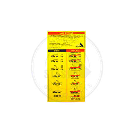 Safe tipping sárga matrica - angol